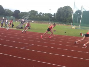 SW Schools Combined Events - Start of JG 800m; Olivia Dobson far left and Isobel Pinsky 2nd left