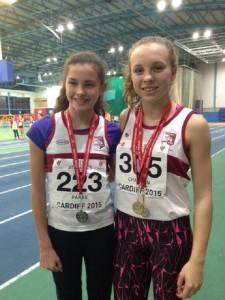 Katie Chapman & Ella Parke @ SW Indoor Champs Cardiff 12 12 2015