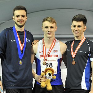 U20m Indoor Champs Sam Talbot (centre)
