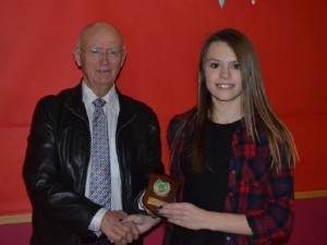 George Eccles (President) presenting Rachel Champion with Female Athlete of the Year (U13) web