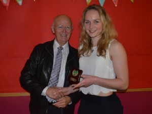 George Eccles presenting Anya Turner with Female Athlete of the Year (U17) web