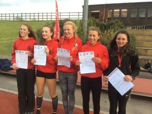Somerset Schools CE - Isobel Pinsky (Exeter Harriers 2nd right) Andrea Gilbert (Exeter Harriers far right) 2web