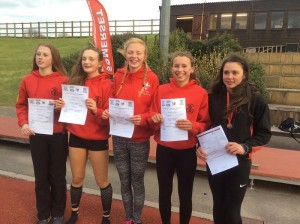 Somerset Schools CE - Isobel Pinsky (Exeter Harriers 2nd right) Andrea Gilbert (Exeter Harriers far right) web