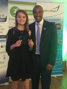 Rachel Champion meet Colin Jackson at the Exeter Foundation Devon Sports Awards 2016 web