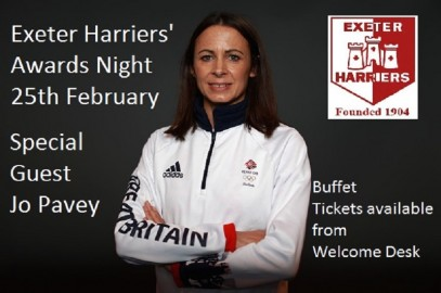 EXETER HARRIERS AWARDS NIGHT 25TH FEBRUARY WITH SPECIAL GUEST JO PAVEY