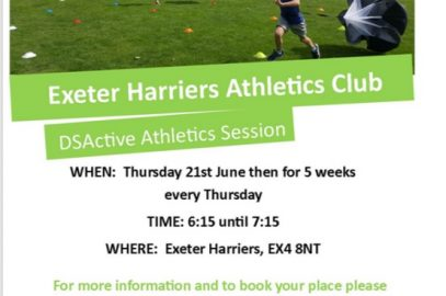 EXETER HARRIERS IS NOW WORKING WITH DSACTIVE TO ENABLE THOSE WITH DOWN SYNDROME TO GET INVOLVED IN ATHLETICS